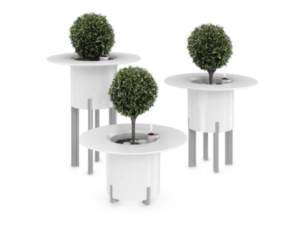 Kastmissüsteemiga taimepott valge ümar lauamooduliga 3